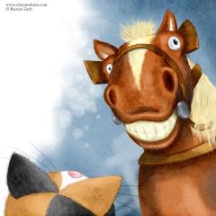 Die Schmatzekatze trifft das Pferd