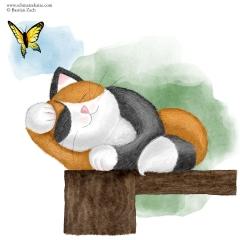 Die Schmatzekatze und der Schmetterling